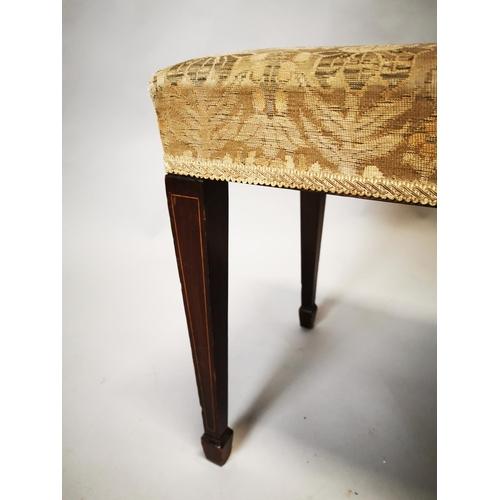 4 - Edwardian inlaid mahogany foot stool on square tapered legs. {47 cm H x 54 cm W x 38 cm D}...