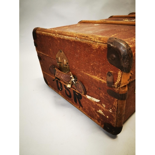 49 - 1950s canvas and wooden bound travelling trunk {34 cm H x 100 cm W x 53 cm D}....