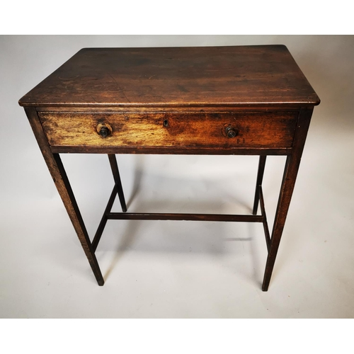 5 - Georgian mahogany side table with single drawer in frieze on square tapered legs. { 73 cm H x 66 cm ...