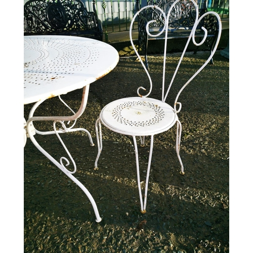 53 - Early 20th C. metal garden table and two matching chairs {Table - 73 cm H x 97 cm Dia. & chairs - 93...