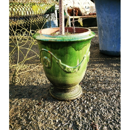 54 - Pair of glazed terracotta Anduze urns {52 cm H x 44 cm Dia.}....