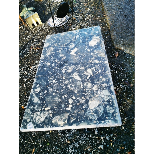 55 - Cast iron garden table with marble top {72 cm H x 100 cm W x 61 cm D}....