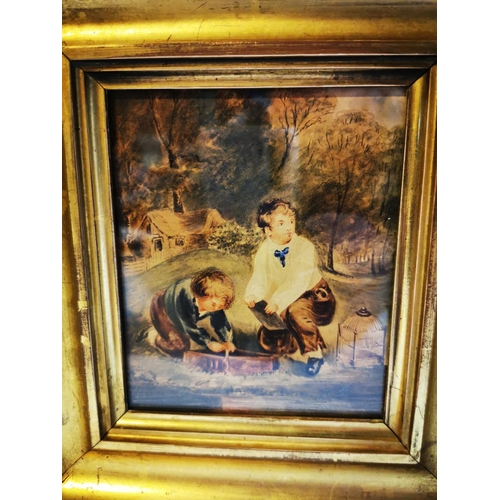 6 - 19th C. watercolour mounted in gilt frame. { 23 cm H x 21 cm W}...