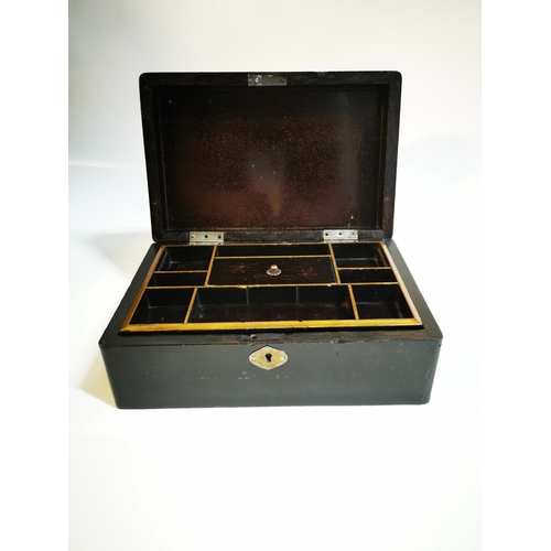 7 - Edwardian lacquered jewellery box in the Oriental style. {10 cm H x 25 cm L x 16 cm D}...