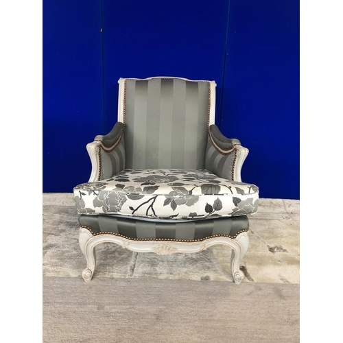 1 - French painted chair with striped upholstery and studded embellishment W 73 H 84 D 90...