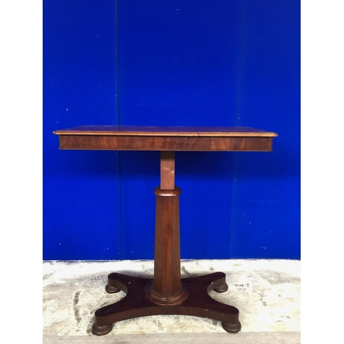 18 - Victorian mahogany adjustable table, standing on a hexagonal support. W 90 D 45...