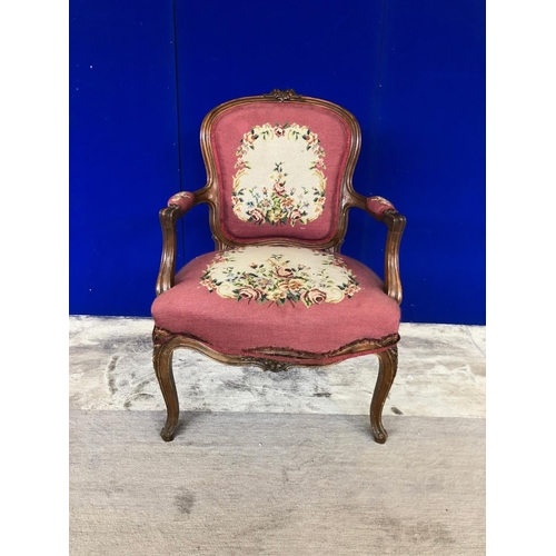 19 - Victorian walnut ladies armchair with original tapestry upholstery H 100 D 60...