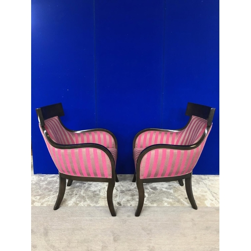 2 - Pair of tall backed chairs with shaped sides and striped upholstery W 67 H 90 D 66...