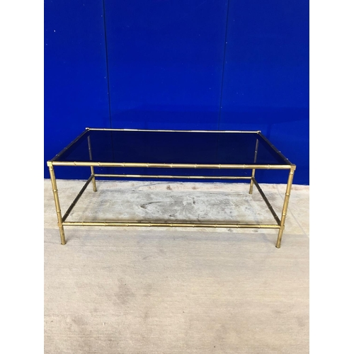 23 - Very fine faux bamboo brass coffee table with two tone inset glass top W 114 H 47 D 64...