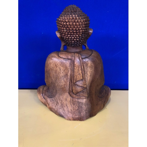 28 - Carved wood seated Buddha W 35 H 40 D 12...