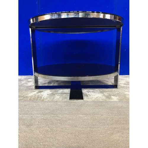 3 - B & B Italia, chrome and smoked glass two tier circular occasional table (as new) W 60 H 45...