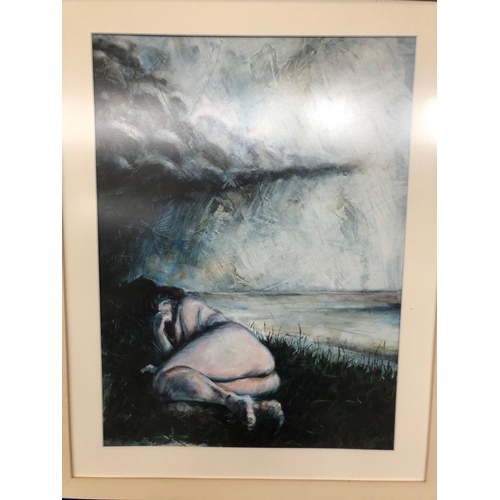 33 - Coloured print of sleeping nude W 70 H 90...