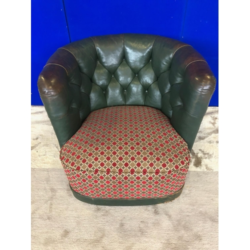 38 - Pair of cool, low tub chairs in leather with deep button upholstery and fabric seats W 80 H 65 D 75...