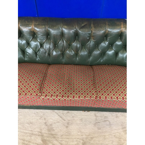 39 - Vintage leather deep buttoned upholstered couch with fabric seats W 185 H 80...