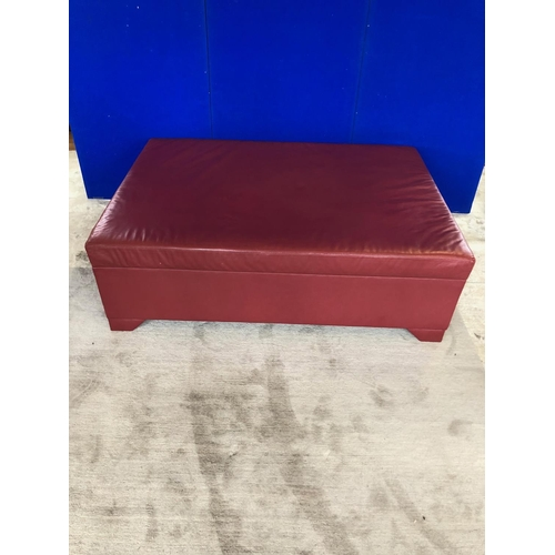 4 - G & M Laurence: Red leather ottoman W 142 H 45 D 100...