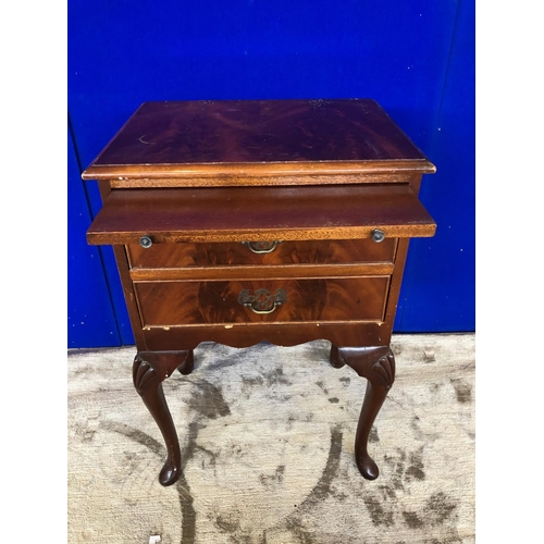 43 - Neat mahogany bedside locker with bush slide above 2 drawers W 43 H 70 D 33...