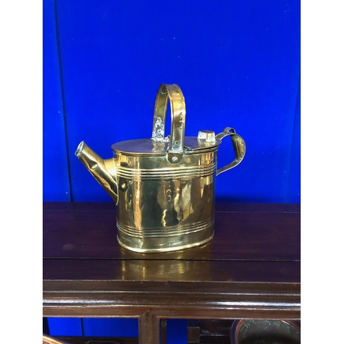 44 - Antique brass watering can, copper kettle and brass/copper pot....