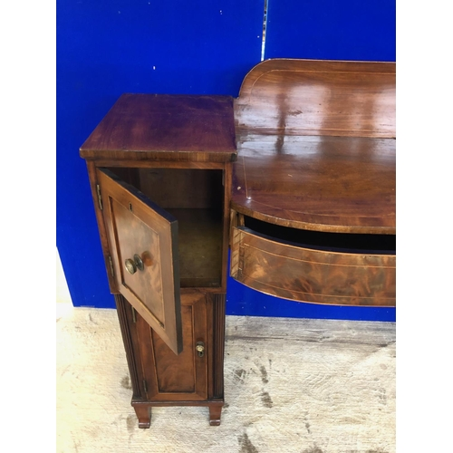 45 - Georgian bow fronted mahogany pedestal sideboard, the pedestals containing 2 cupboards on sabre feet...
