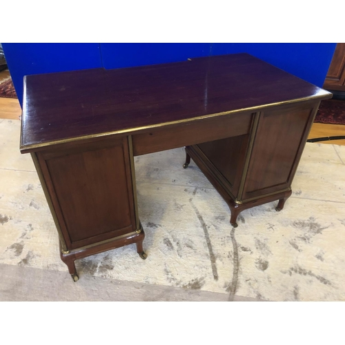 48 - Fine 19th Century mahogany brass bound writing desk, with inverted front above central drawer flanke...