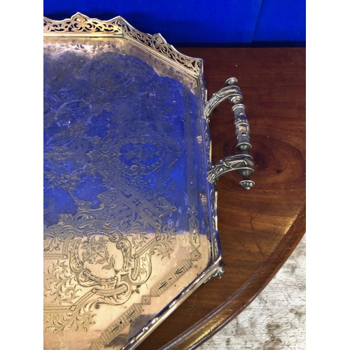 51 - Fine Victorian silver plated carrying tray with inscription W70 D 50...
