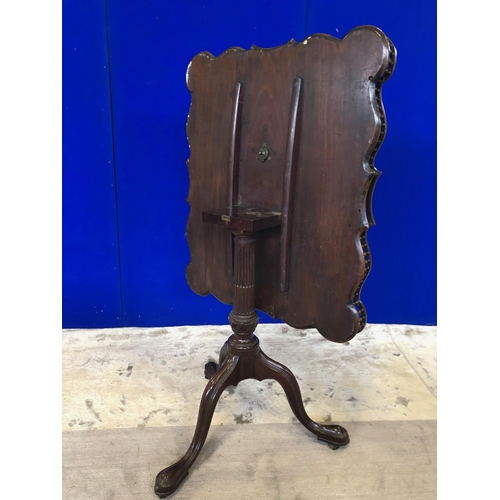 55 - Very fine Georgian tray top table, with tip up action terminating on tripod support W 75 H 75 D 62...