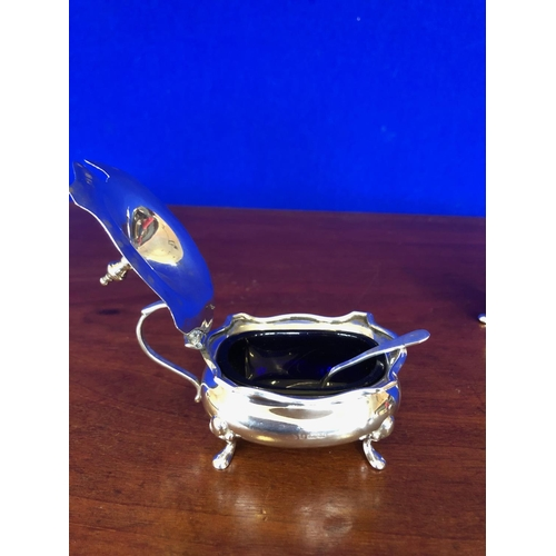 57 - Set of 3 solid silver condiments with spoons and liners....