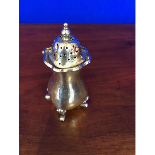 58 - Set of 3 solid silver condiments with spoons and liners....