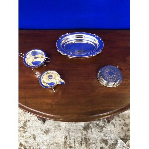 59 - Collection of silver plate, jug, bowl, coasters and sweet dish....