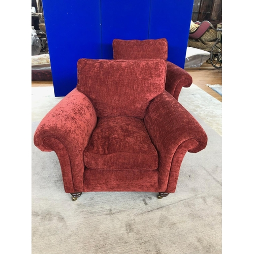 8 - Pair of upholstered armchairs in the Victorian style, standing on mahogany feet W 110 H 100 D 100...