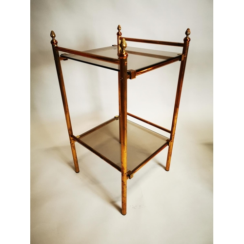 10 - Pair of good quality brass and glass lamp tables {70 cm H x 37 cm W x 37 cm D}.