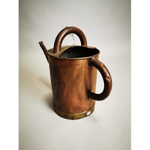 18 - Early 20th C. copper and brass watering can {34 cm H x 47 cm W x 20 cm D}.
