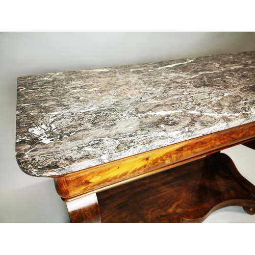 19 - William IV mahogany console table with marble top {77 cm H x 105 cm W x 46 cm D}.