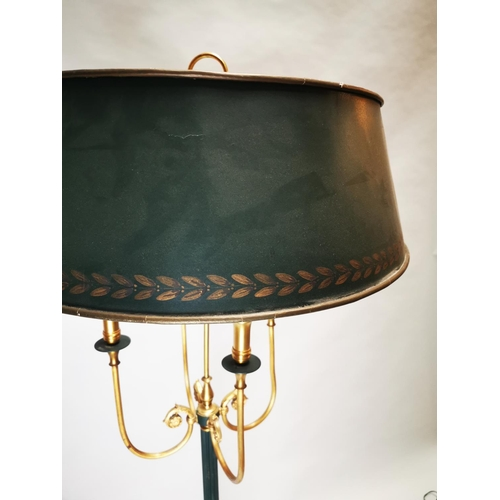 22 - Brass and metal standard lamp in the Empire style {167 cm H x 60 cm Dia.}.