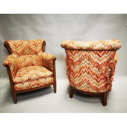 24 - Pair of early 20th C. inlaid mahogany and upholstered club chairs {86 cm H x 65 cm W x 59 cm D}.