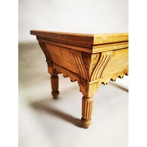 26 - Early 20th C. pine and oak butchers table with single drawer in the frieze on reeded legs {72 cm H x...
