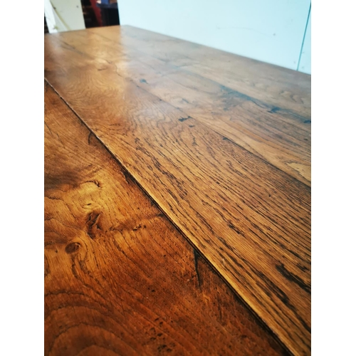 27 - Exceptional quality 19th C. oak kitchen table on turned legs and single stretcher {76 cm H x 224 cm ...