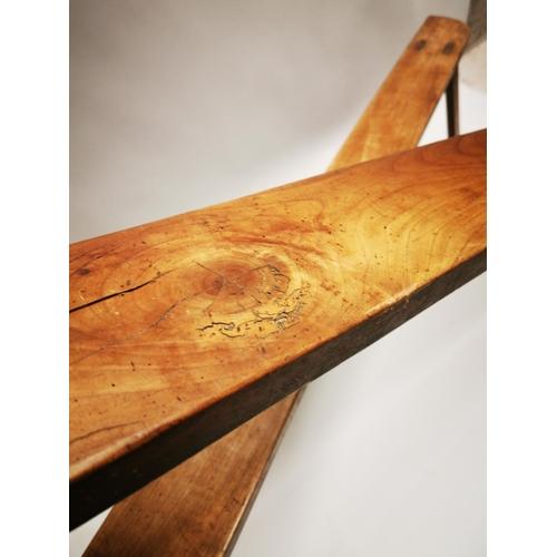 28 - Pair of good quality elm benches {48 cm H x 201 cm L x 34 cm W}.