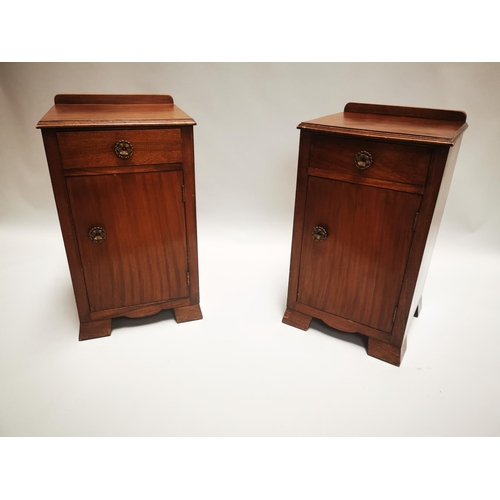 29 - Pair of 1950s mahogany bed side lockers with single drawer and single door {77 cm H x 42 cm W x 40 c...