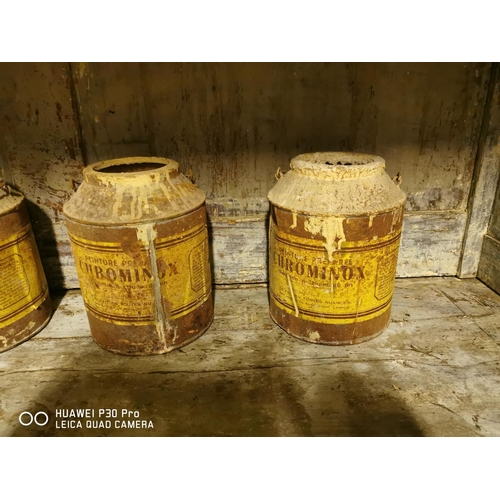 32 - Set of five early 20th C. paint cans {21 cm H x 17 cm Dia.}.