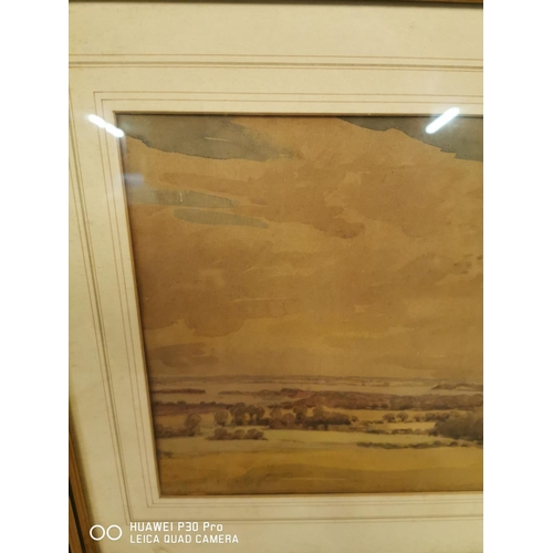 36 - Framed watercolour Countryside Scene signed Coles. R. A {29 cm H x 47 cm W}.