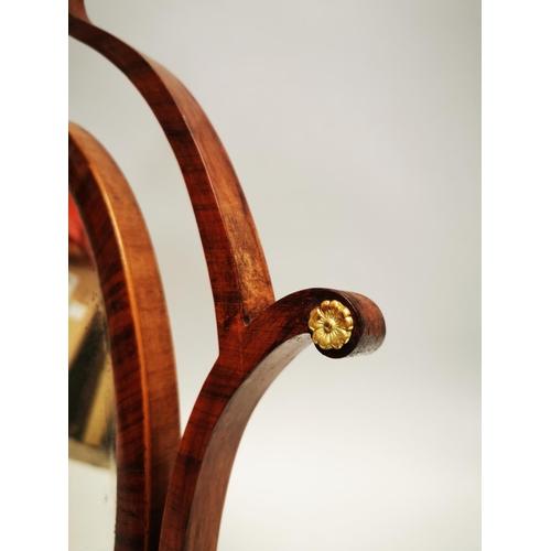 38 - Regency rosewood dressing table mirror with brass mounts {75 cm H x 57 cm W x 24 cm D}.