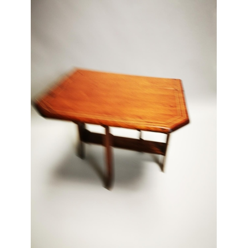 39 - Edwardian inlaid mahogany drop leaf Sunderland table {61 cm H x 60 cm W x 20 cm D}.