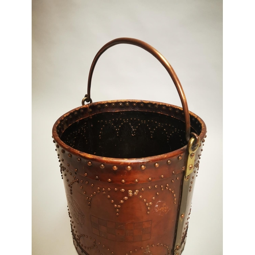 4 - Early 20th C. tooled leather and copper coal bucket {59 cm H x 40 cm Dia.}.