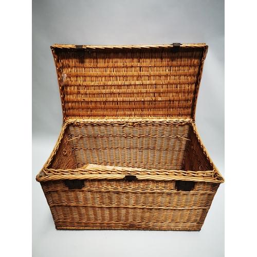 40 - Early 20th C. wicker laundry basket with metal mounts {63 cm H x 106 cm W x 55 cm D}.