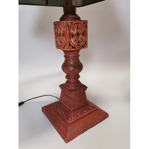 43 - Pair of good quality hand painted pine table lamps with shades {102 cm H}.