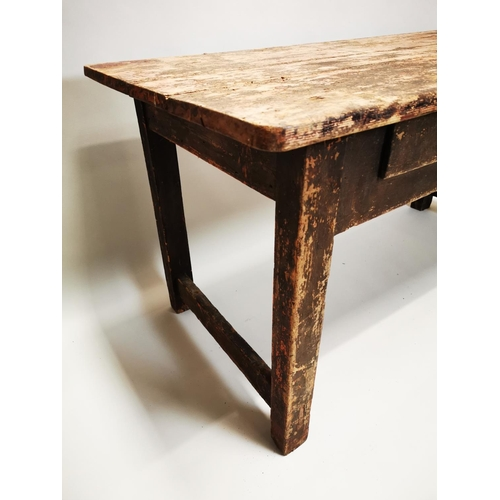 44 - Early 19th C. painted pine side table on square legs with two drawers in the frieze {74 cm H x 150 c...