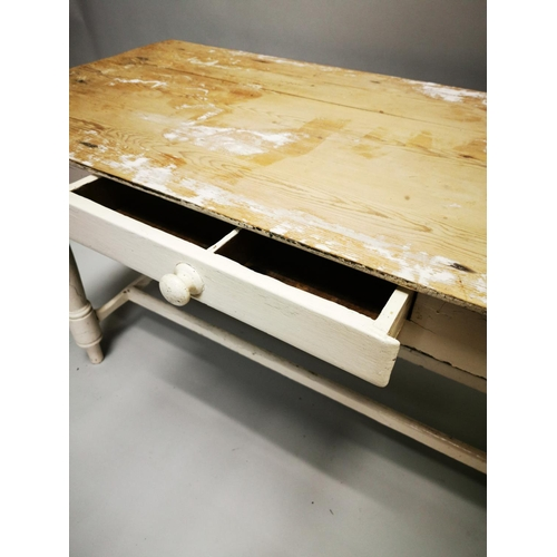 45 - 19th C. painted pine kitchen server on turned legs and double stretcher with single drawer in the fr...