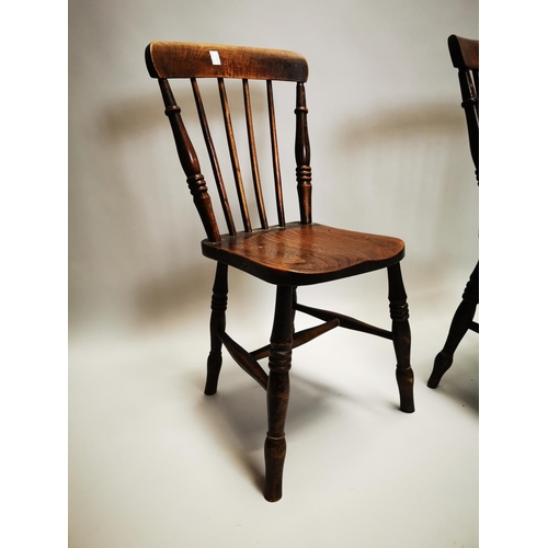 48 - Pair of 19th C. pine and elm kitchen chairs on turned legs {85 cm H x 37 cm W x 49 cm D}.