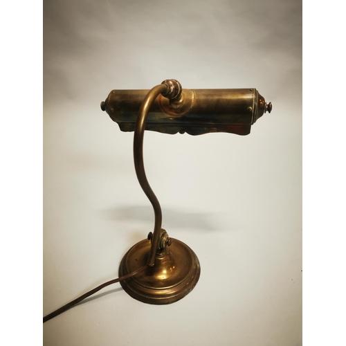 5 - Early 20th C. brass desk lamp {32 cm H x 26 cm W x 17 cm D}.