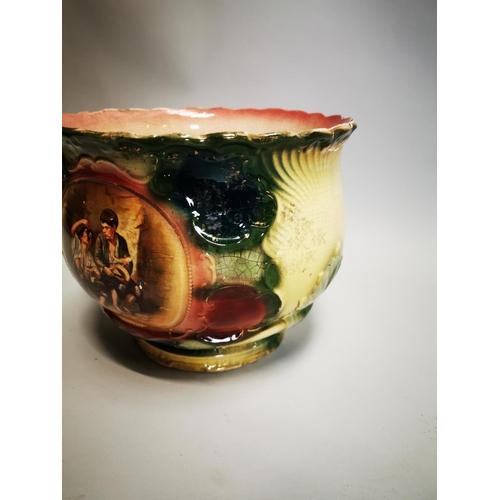 52 - 19th C. hand painted ceramic jardiniere. {24 cm H x29 cm Dia}.